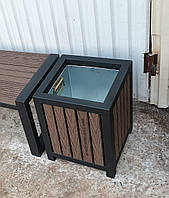 Уличная урна TrendDecor 0102 mini (металл/*дпк доска из древесно-полимерного композита), фото 1