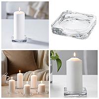 Подсвечник большой стеклянный для свечей 10x10 IKEA GLASIG прозрачное стекло ИКЕА ГЛАСІГ