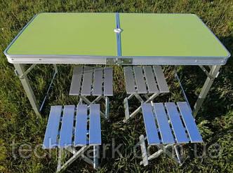 Усиленный стол для пикника раскладной с 4 металлическими стульями SunRise Vip-2108 (Зеленый)