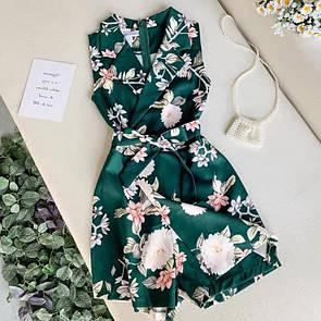 Женский комбинезон в цветочный принт Зеленый