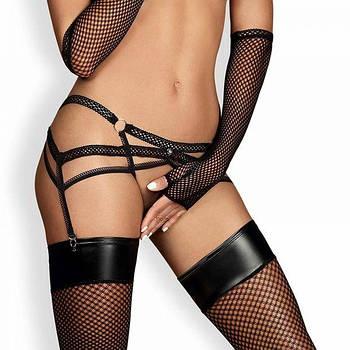 Пояс для чулков Obsessive Darkie garter belt black L/XL