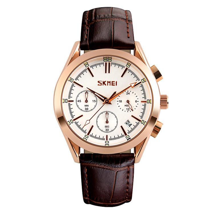 Skmei 9127  prestige коричневые с белым циферблатом мужские классические часы