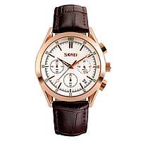 Skmei 9127  prestige коричневые с белым циферблатом мужские классические часы, фото 1