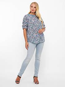 Голубая женская асимметричная блузка батист в стильный принт размер от 52 до 58