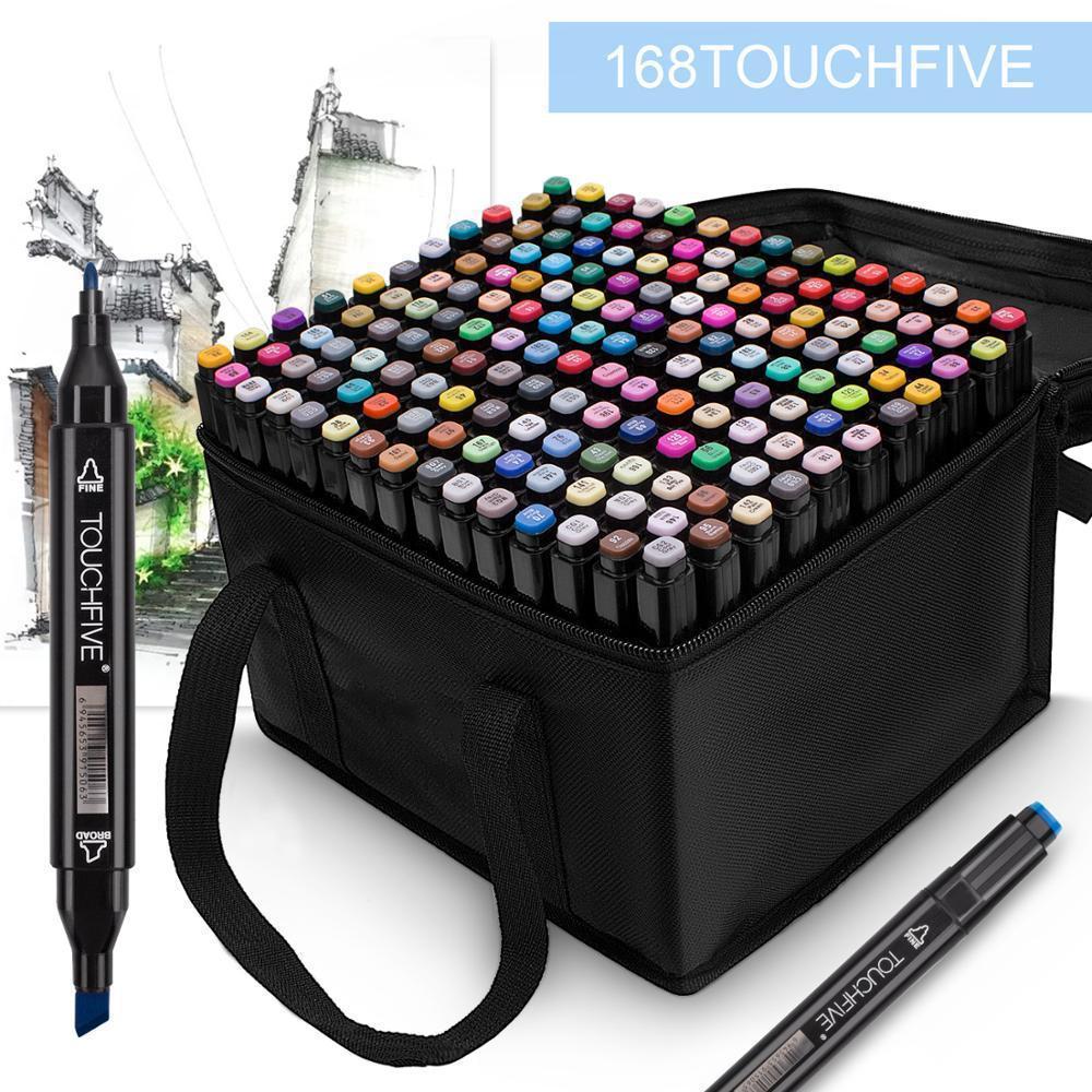 Набір маркерів для скетчинга 168шт Touch. Двосторонні маркери на спиртовій основі. Скетч-маркери