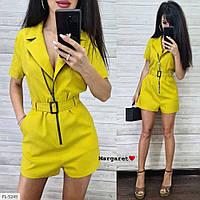 Комбинезон женский стильный в деловом стиле из льна низ короткие шорты с поясом арт 5236