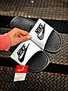 Чоловічі тапочки Nike Benassi Black logo black white, фото 2