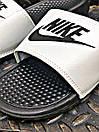 Чоловічі тапочки Nike Benassi Black logo black white, фото 4