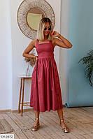 Летнее платье с пышной юбкой клеш за колено без рукава р-ры 42-48 арт. 308