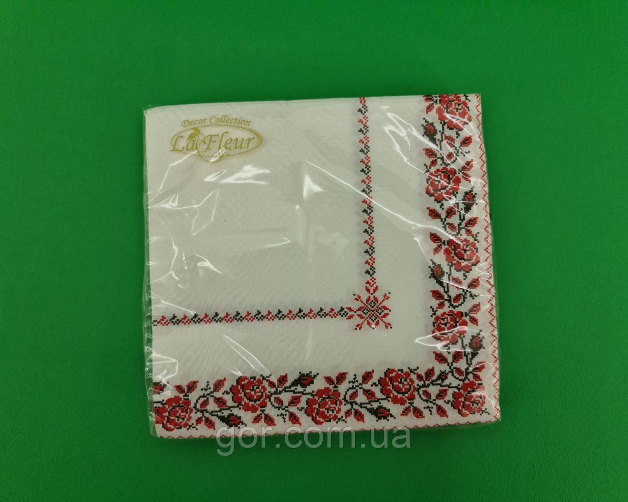 Салфетка декор (ЗЗхЗЗ, 20шт)  La Fleur Платок из роз (1311) (1 пач)