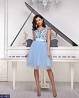 Нарядное вечернее короткое платье с пышной юбкой клеш из сетки-фатина и гипюром р-ры 42-46 арт. 7939