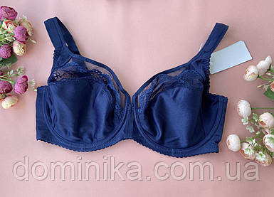 95F Бюстгальтер Lanny Mode на косточках, кружевной синий лифчик для большой груди с сеточкой без поролона