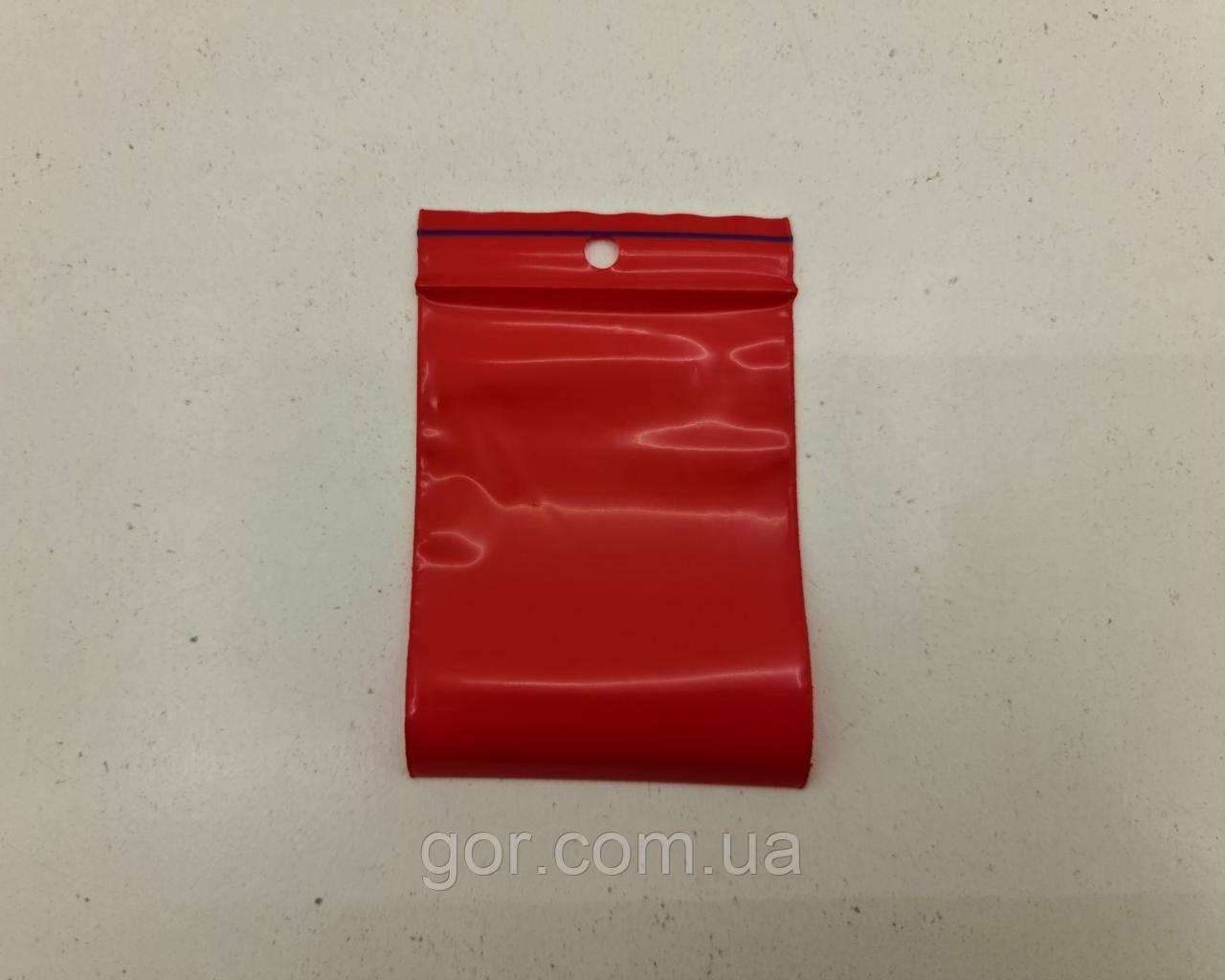 Пакет з замком zipp 6x8 червоний (50шт) (1 пач.)