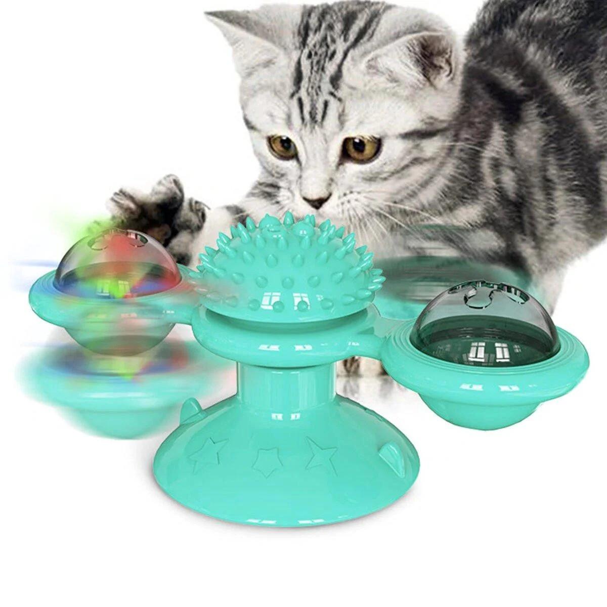 Игрушка для кота с шариками Rotate windmill cat toy, Бирюзовая игрушка для чистки зубов кошек (ST)