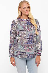 Оригинальная женская рубашка блузка из лёгкой ткани с патами на рукавах  размер от 52 до 58