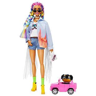 Лялька Барбі Екстра з райдужними косами Barbie Extra Long-Fringe Denim Jacket