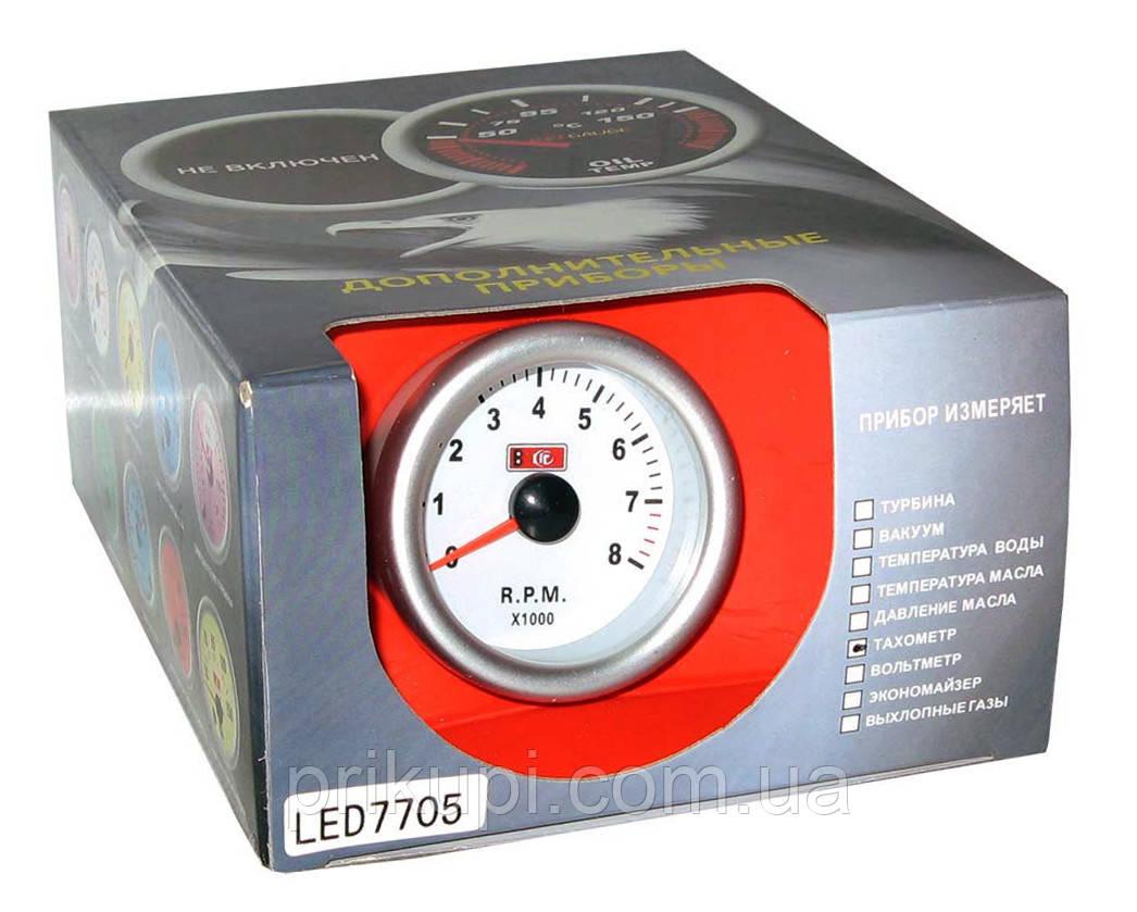 Тахометр стрелочный 7705 LED, d52мм