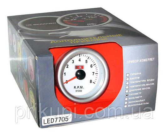 Тахометр стрелочный 7705 LED, d52мм, фото 2