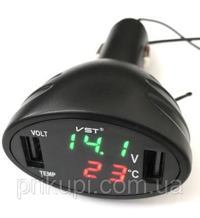 Зарядка в прикурювач USB х2 + термометр + вольтметр 12В - 24В VST - 708 Чорний, фото 2