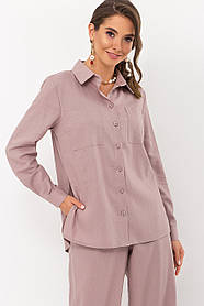 Льняная классическая женская рубашка цвета капучино размер M L XL