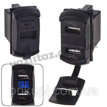 Автомобильное зарядное устройство 2 USB 12-24V врезное + вольтметр (10258 USB-12-24V 2,1A BLU), фото 2