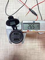 Автомобільний зарядний пристрій 2 USB по 2.1 А 12-24V врізне в панель + вольтметр Green, фото 3