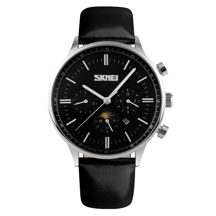 Skmei 9117серебристые с черным циферблатом мужские классические часы