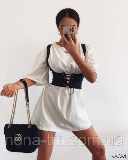 Женское платье свободного силуэта  с корсетом