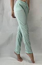 Батальные женские летние брюки №19 мята супер СОФТ (диагональка)