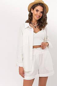 Легкая белая женская рубашка изо льна на лето 2021 размер 42 44 46 48
