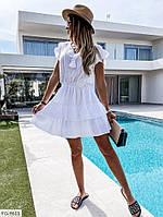 Короткое женское платье на лето с расклешенной юбкой с воланами короткий рукав  р-ры 42-46 арт.  819