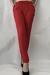 Батальные женские летние брюки №19 красный. супер СОФТ (диагональка)