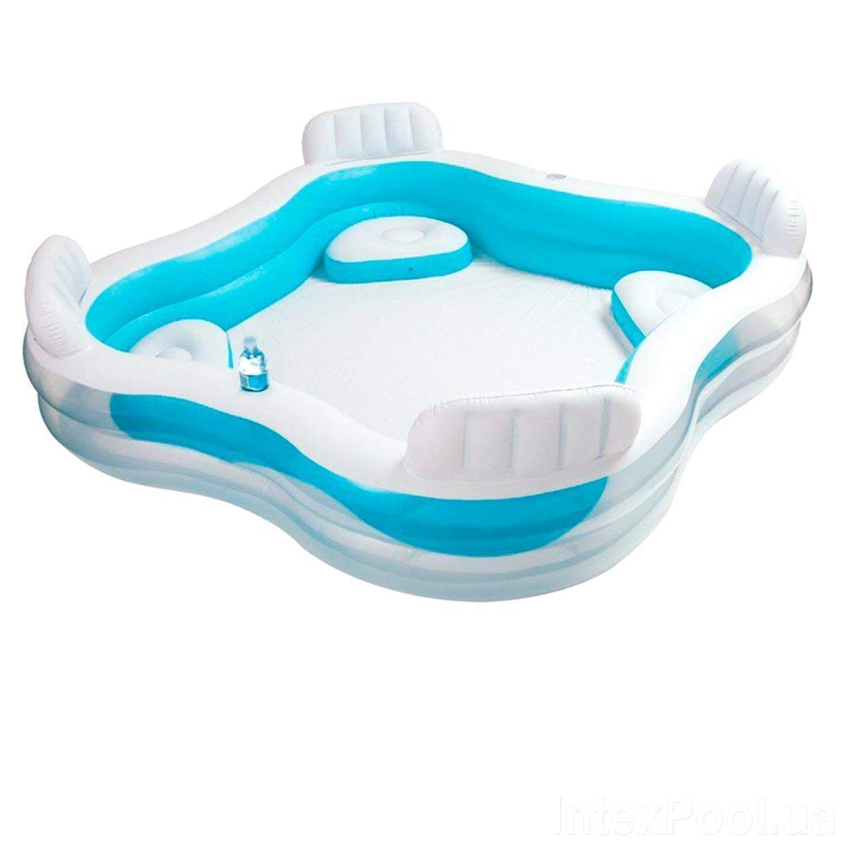 Сімейний надувний басейн з сидіннями і спинками Intex Блакитний (229*229*56 см)(56475)