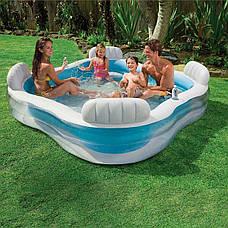 Сімейний надувний басейн з сидіннями і спинками Intex Блакитний (229*229*56 см)(56475), фото 2