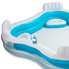 Сімейний надувний басейн з сидіннями і спинками Intex Блакитний (229*229*56 см)(56475), фото 3