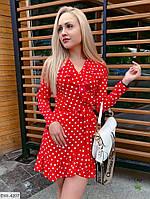 Красиве короткий жіноча міні сукня на запах в горох з воланами р-ри 42-48 арт. 10118