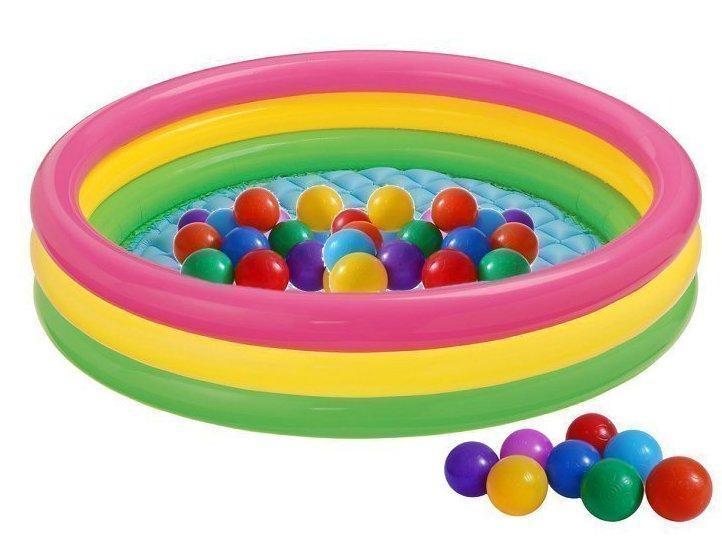 Детский надувной бассейн Intex с шарами «Цвета заката» 147х33 см (57422-1)