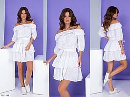 Короткое женское платье с юбкой клеш на талии резинка с открытыми плечами  р-ры 42-48 арт.  745