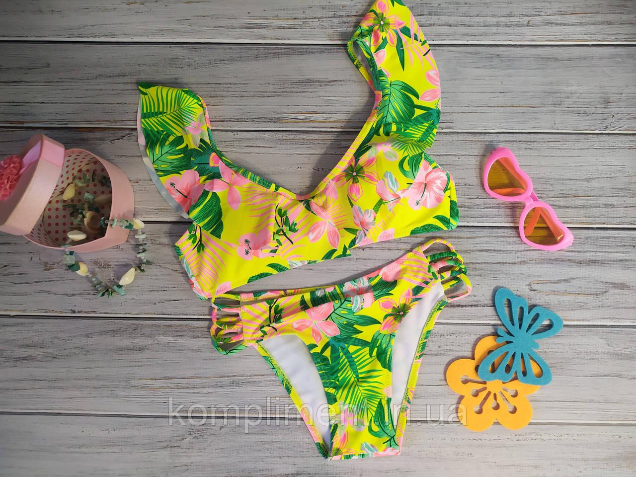 Модный раздельный купальник для девочки с рисунком и рюшами, желтый