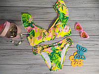 Модный раздельный купальник для девочки с рисунком и рюшами, желтый, фото 1