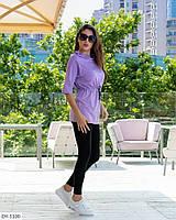 Женский стильный костюм повседневный лосины и удлиненная футболка-туника с поясом арт 8046