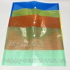 Папка-конверт А4 My CLEAR-W209-180 (плотная ) уп 12шт Клетка