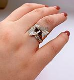 Потрійне кільце з золотом і цирконами срібло Метелики, фото 2
