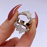 Потрійне кільце з золотом і цирконами срібло Метелики, фото 3