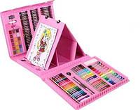 Дитячий набір для малювання 208 предметів у зручному кейсі з ручкою + Мольберт TK00028