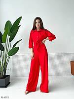 Брючный стильный женский костюм на лето из комбинезона и рубашки р-ры 42-44,46-48 арт 4107