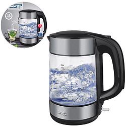 Чайник електричний DSP KK1119 скляний з підсвічуванням 1,7 л 1850 Вт | Електрочайник прозорий