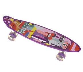 Пенни Борд - скейт SL-AS 108 фиолетовый | пенниборд скейтборд со светящимися колесами и декой с ручкой