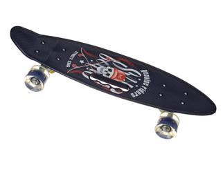 Пенни Борд - скейт SL-AS 108 черный с черепом | пенниборд скейтборд со светящимися колесами и декой с ручкой