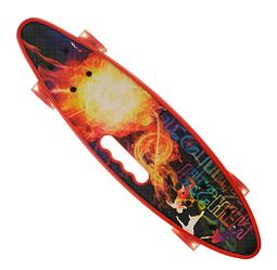 Пенни Борд - скейт SL-AS 108 красный | пенниборд скейтборд со светящимися колесами и декой с ручкой